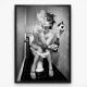Poster - Lady on toilet smoking black white